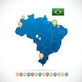 Brazil Blue Map