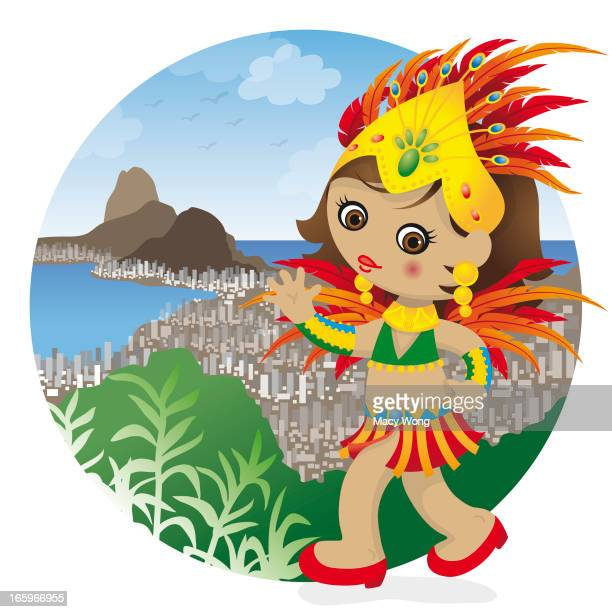 brazil carnival girl - samba dancing stock illustrations, clip art, cartoons, & icons