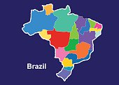 Brazil colorful map in blue background, brazil map vector
