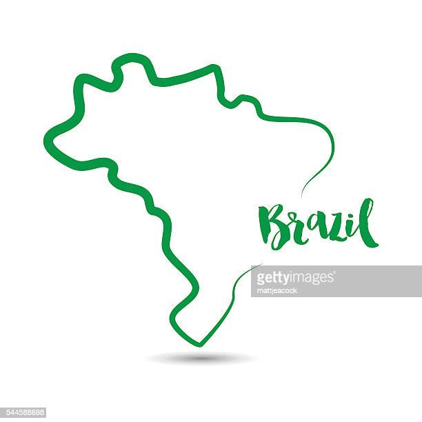 Brazil country outline in green