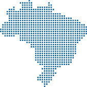 Brazil dot distribution map vector outline blue background. Dotted map of Brazil. Highly detailed pixelated Brazilian map illustration prepared by a map expert