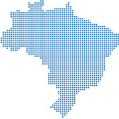 Brazil dotted map. Brazil map dots. Highly detailed pixelated Brazil map vector outline illustration in blue background