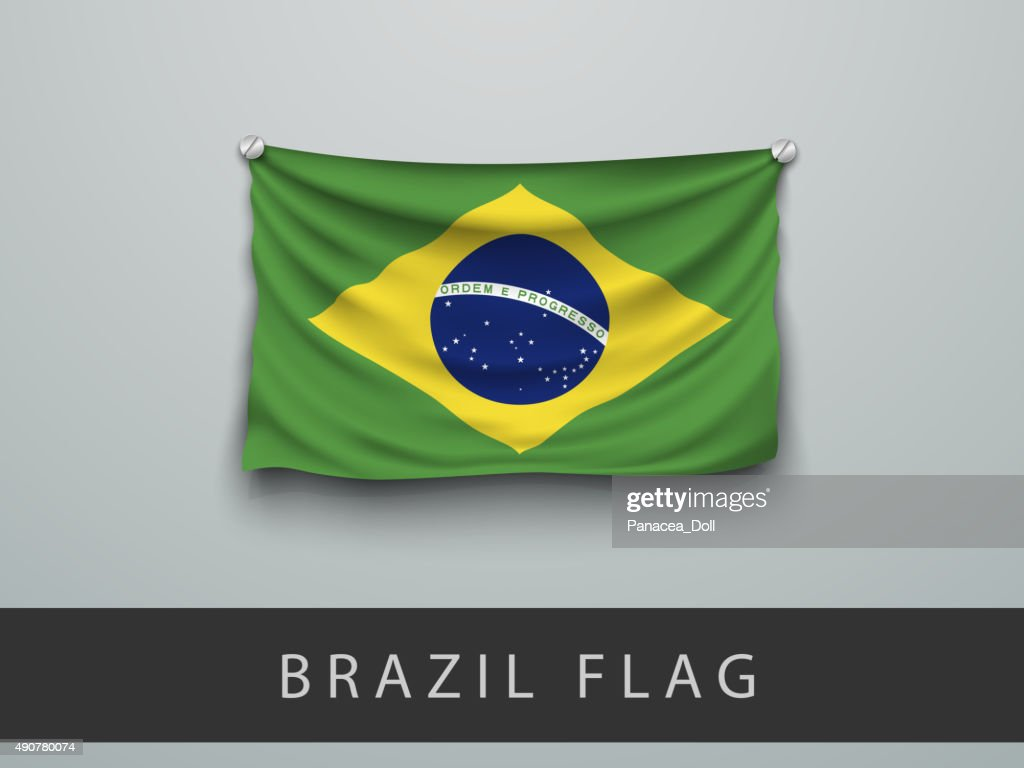 brazil flag battered, hung on the wall
