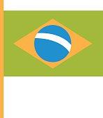 Brazil flag flat illustration
