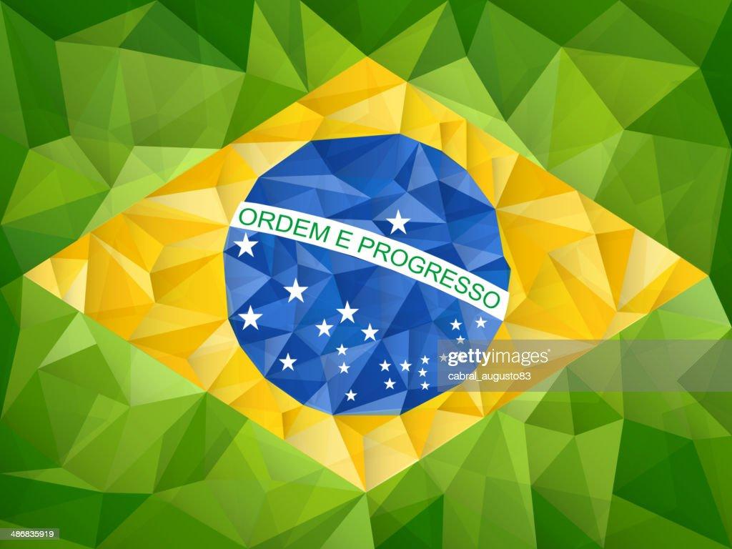 Brazil Flag Geometric Triangle Texture Background