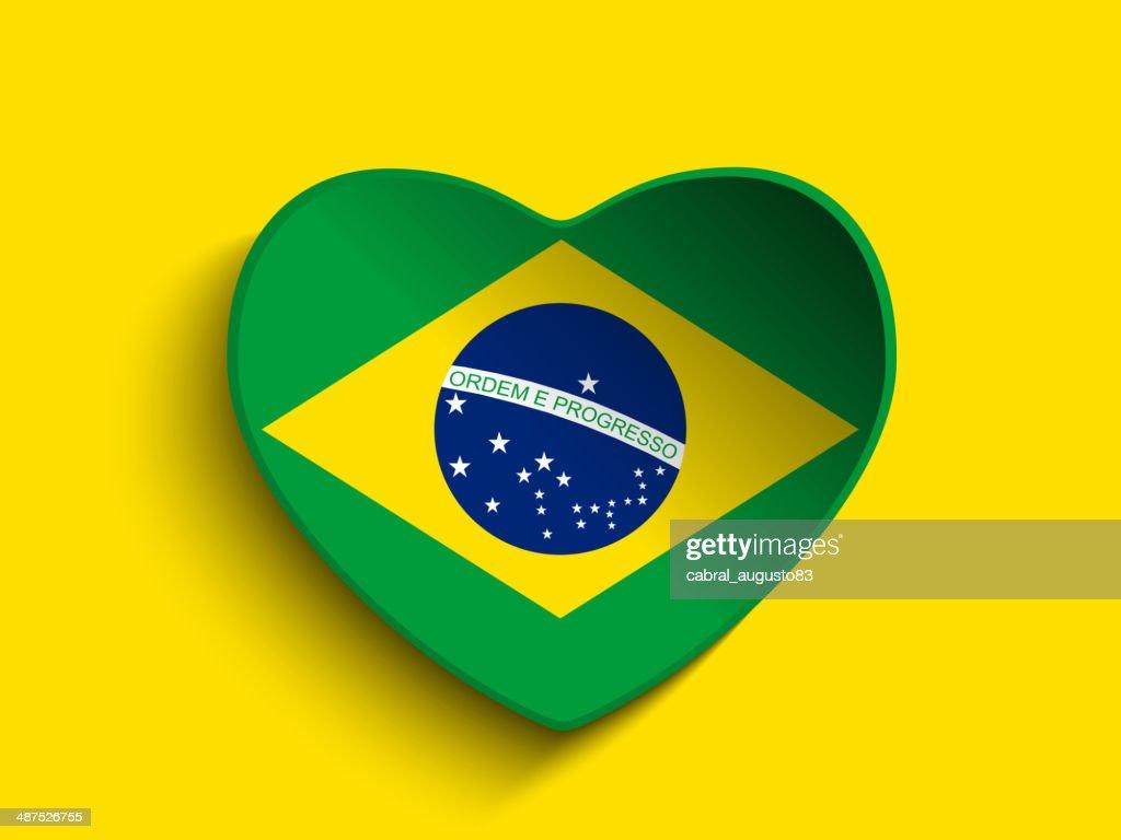 Brazil Flag Heart Paper Button