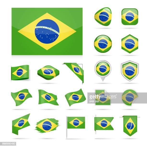 ilustrações, clipart, desenhos animados e ícones de brasil - bandeira ícone brilhante vector set - ucrânia