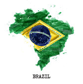 Brazil flag watercolor painting design . Country map shape . Independence day concept ( 7 September 1822 ) . Vector .