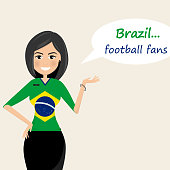 Brazil football fans.Cheerful soccer fans, sports images.Young woman,Pretty girl sign.Happy fans are cheering for their team.Vector illustration
