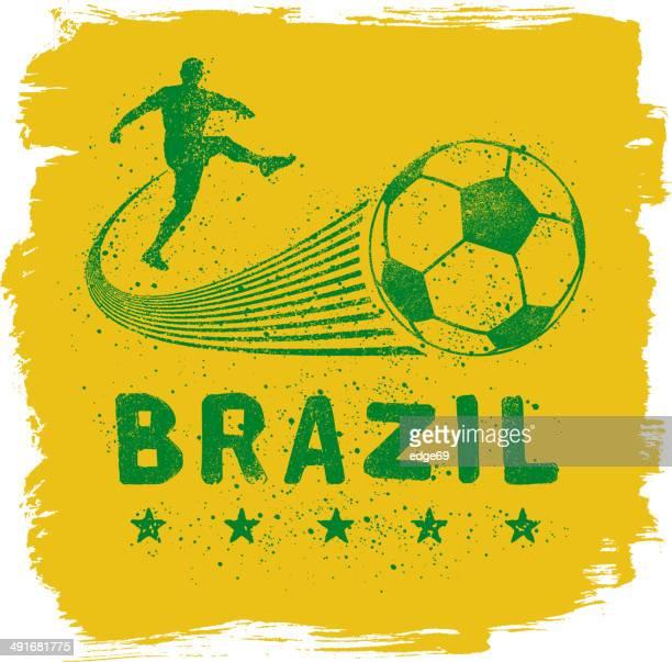 stockillustraties, clipart, cartoons en iconen met brazil graffiti sign - aanvaller voetbal
