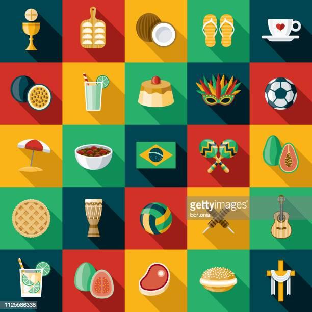 brazil icon set - latin american culture stock illustrations