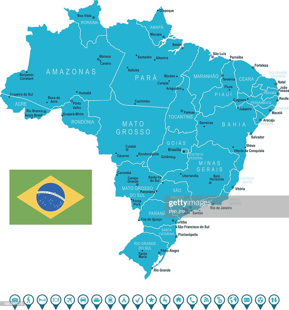 Brazil Map And Navigation Icons Stock-Illustration - Getty ...