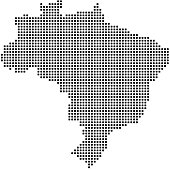 Brazil map dots, dotted Brazil map vector outline, pixelated Brazil map in black and white illustration background