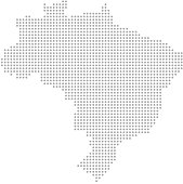 Brazil map dots vector outline, dotted map, point patterns map faded gray background image art