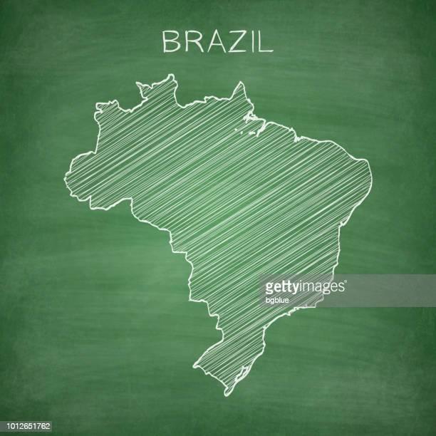 brazil map drawn on chalkboard - blackboard - brazil stock illustrations