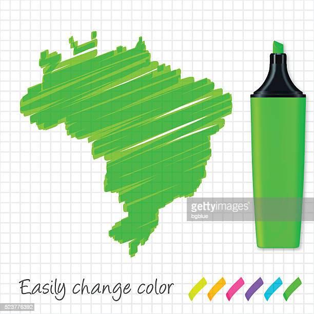 brazil map hand drawn on grid paper, green highlighter - brazil stock illustrations