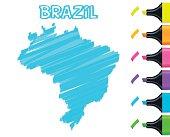 Brazil map hand drawn on white background, blue highlighter