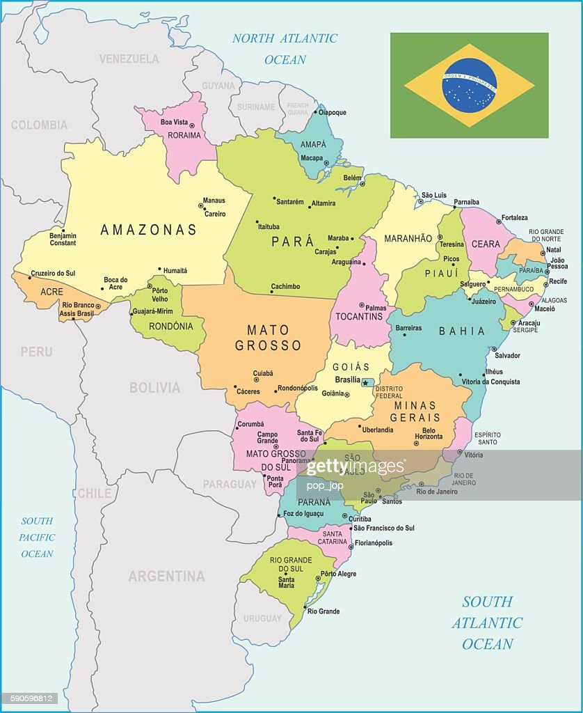 Brazil Map Illustration Stock-Illustration - Getty Images