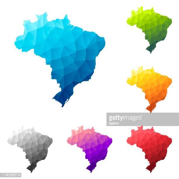 ilustrações, clipart, desenhos animados e ícones de mapa de brasil no estilo baixo da poli - projeto geométrico poligonal colorido - brasil