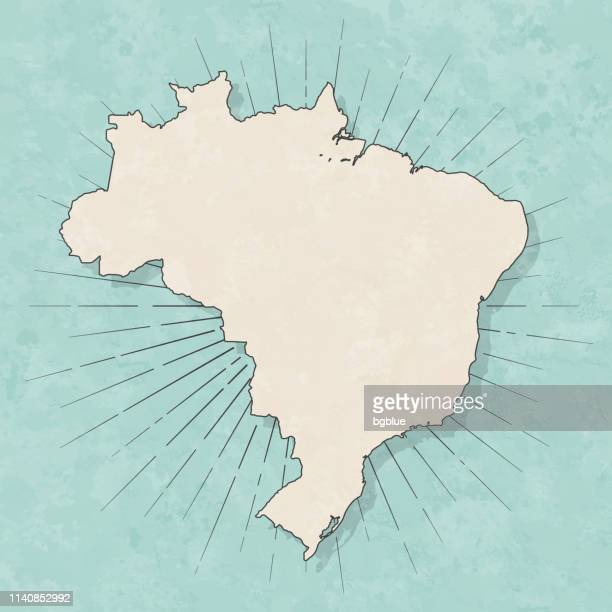 illustrazioni stock, clip art, cartoni animati e icone di tendenza di brazil map in retro vintage style - old textured paper - brasile