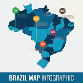 Brazil map infographic template. All regions are selectable. Vector