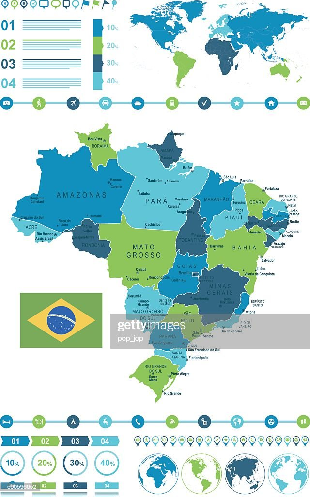 Brazil Map Infographic Stock-Illustration - Getty Images