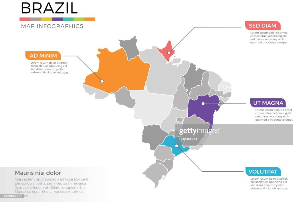 Brazil map infographics vector template with regions and pointer marks