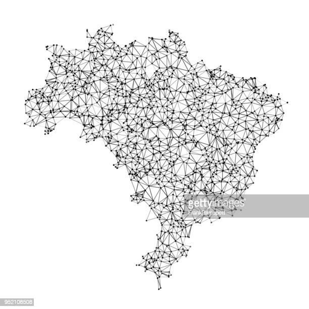 brazil map network black and white - brazil stock illustrations
