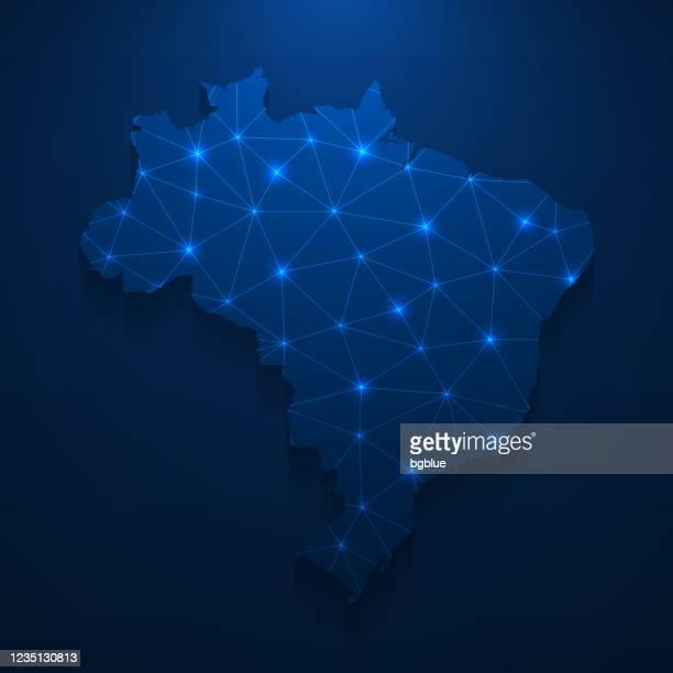 brazil map network - bright mesh on dark blue background - brazil stock illustrations
