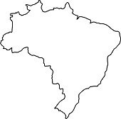 Brazil map of black contour curves of vector illustration