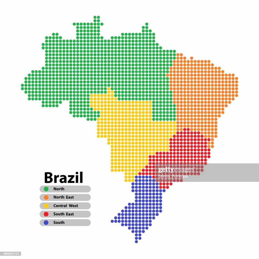 Brazil Map of circle shape with the regions colorful in bright colors on white background. Vector illustration dotted style.