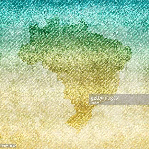brazil map on grunge canvas background - country geographic area stock illustrations, clip art, cartoons, & icons