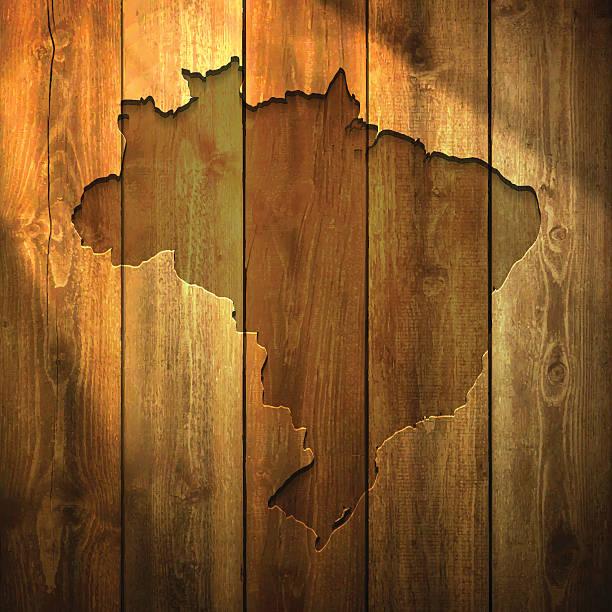 Brazil Map On Lit Wooden Background Wall Art