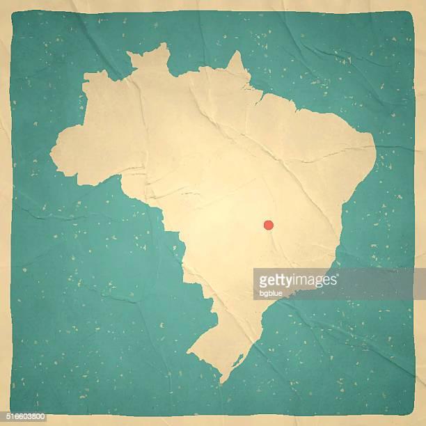 brazil map on old paper - vintage texture - brazil stock illustrations