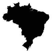 Brazil map outline vector isolated on white background