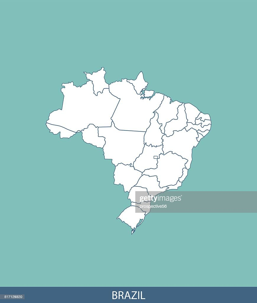 Brazil map outline vector with states borders in blue background