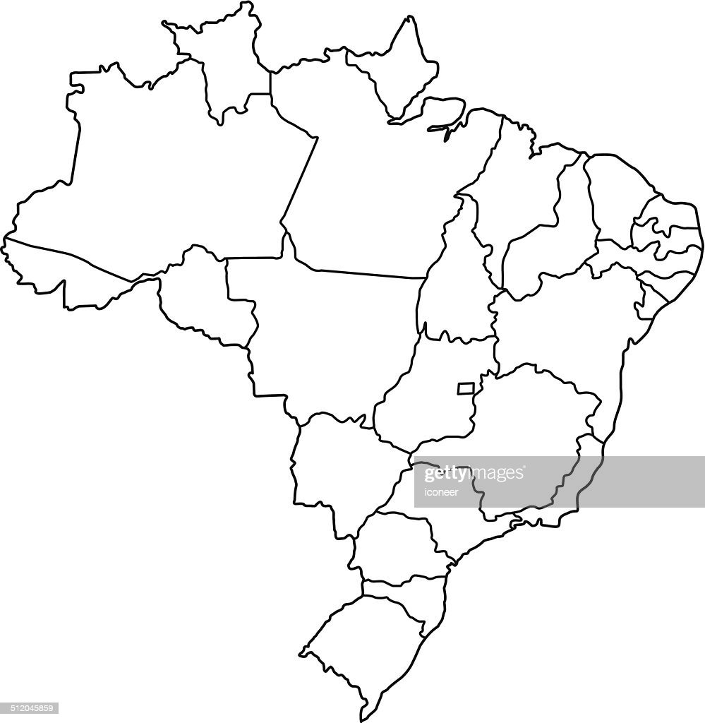 Brazil Map Outline White Background Vector Art Getty Images