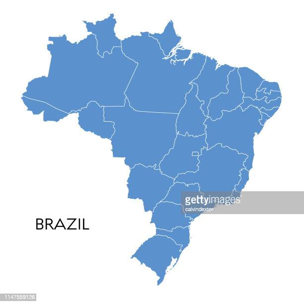 illustrazioni stock, clip art, cartoni animati e icone di tendenza di brazil map - carta geografica