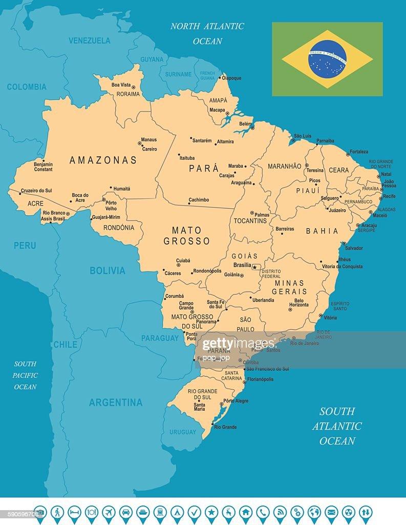 Brasilien Map Stock-Illustration - Getty Images