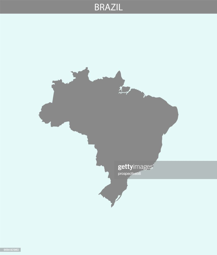 Brazil map vector outline illustration gray and blue background. Highly detailed accurate map of Brazil. The borders of Brazilian provinces or states are not included on this map for aesthetic appeal.