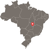 Brazil map vector outline illustration with provinces borders and capital location, Brasilia, in gray background. Highly detailed accurate map of Brazil prepared by a map expert.