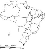 Brazil map vector outline with scales in a blank design