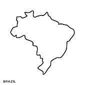 Brazil Map Vector Stock Illustration Design Template. Editable Stroke.