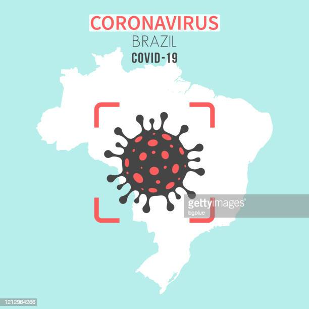 brazil map with a coronavirus cell (covid-19) in red viewfinder - brazil stock illustrations