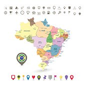 Brazil map with flag and navigation icons