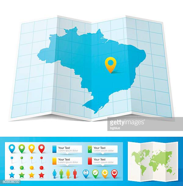 brazil map with location pins isolated on white background - brazil stock illustrations
