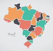 Brazil Map with modern round shapes