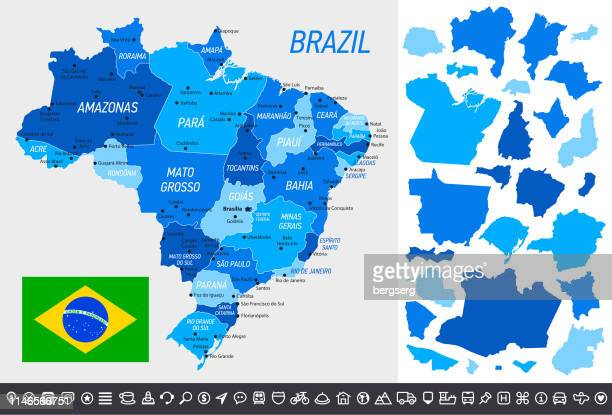 Brazil Map with National Flag, separated provinces and navigational icons