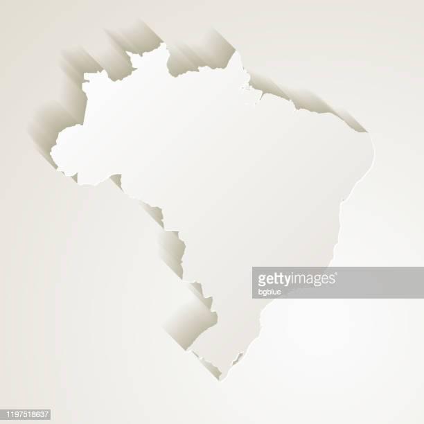 ilustrações, clipart, desenhos animados e ícones de mapa de brasil com efeito do corte de papel no fundo em branco - brasil