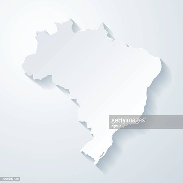 brazil map with paper cut effect on blank background - brazil stock illustrations